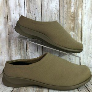 Aetrex Microfiber Clogs Shoes 6M Taupe Brown